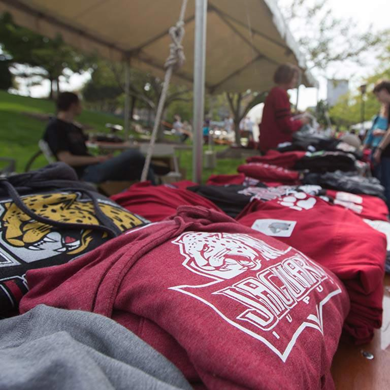 IUPUI apparel on a table for sale.