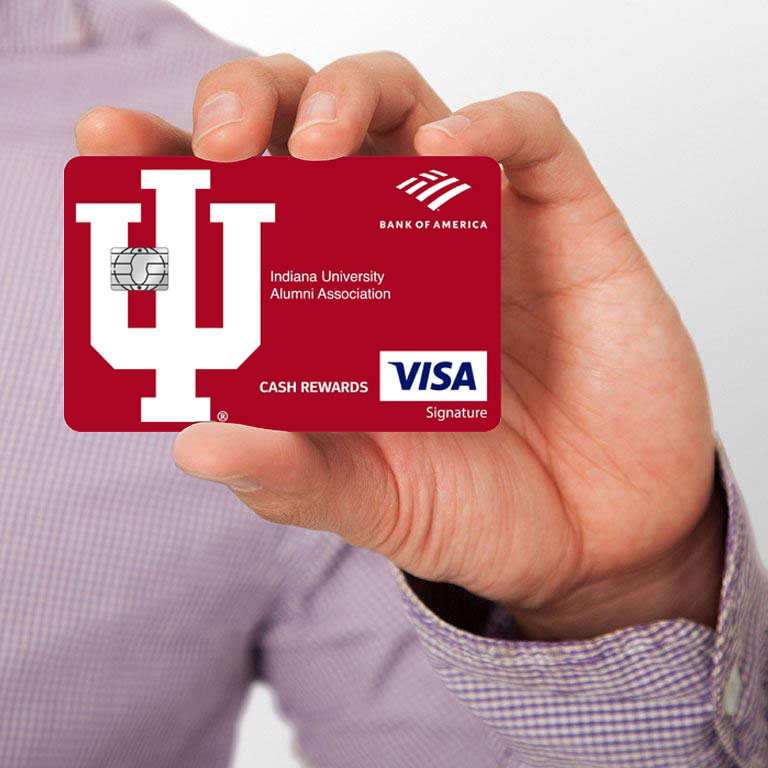 A person holding an IUPUI spirit credit card.